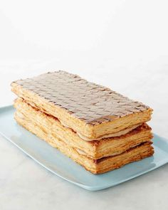 Coffee Napoleon. Amanda, use only store bought puff pastry for this. Could use any kind of pastry cream. Vanilla pastry cream + sliced strawberries are good. Use semi-sweet chocolate for piping on the top. I will show you how to decorate. Refrigerate at least 2 hrs before serving. Must be stored in fridge. Only good for 2 days. Love, Mom