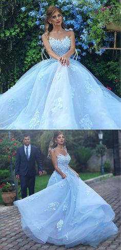 Light Blue Lace Appliques Ball Gown Prom Dress,Princess Wedding Dress #ballgown #skyblue #princess #prom #wedding #okdresses