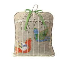 Birdcage Pillow with Embroidered Bird Appliques