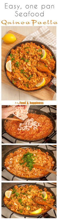 Easy, high in protein recipe for a delicious Paella! Ready in just about 30 minutes, all in one pan and made healthier with quinoa!