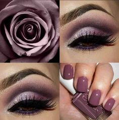 Gorgeous collage of eye makeup and nails by Essie! - bellashoot.com