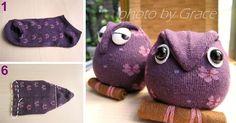 Kreatívny DIY nápad s návodom urob si sám na krásnu dekoráciu, darček, hračku pre deti, ktorú ušijete za pár minút! Ponožková sovička vlastnými rukami
