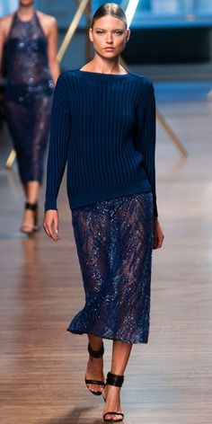 JASON WU: Navy silk knit pullover with a navy embroidered skirt
