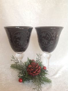 2 Black Glass Goblets with Flower Etching by AnniesOldStuff