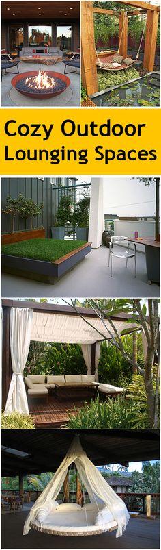 DIY Cozy Outdoor Lounging Spaces with tutorials.