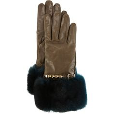 Valentino Rockstud Leather Gloves with Fur Cuffs (8.393.745 IDR) ❤ liked on Polyvore featuring accessories, gloves, black, valentino gloves, leather knuckle gloves, knuckle gloves, fur cuff gloves and leather gloves