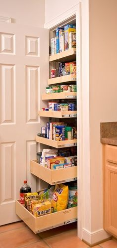 Take out shelving and install slide out drawers- genius! Great for the bathroom, too! No more lost bottles in the back!