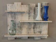 Weiße Palette Holz-Regal Wand-Dekor weiß von TheWoodGarageLLC