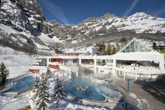 Family-Friendly Leukerbad Therme Hot Pools and Water Slides - Burgerbad changed its name but still the largest and best family-friendly day spa in the Alps