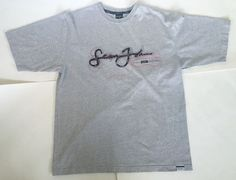Sean John Logo Gray Thick T Shirt Size L Red Black Cursive Lettering Tee Top | eBay