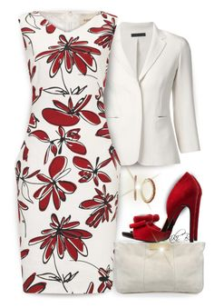 """Red and White Floral Dress"" by kiki-bi ❤ liked on Polyvore featuring The Row, Havren, Charlotte Russe and c.A.K.e. by Ali Khan"