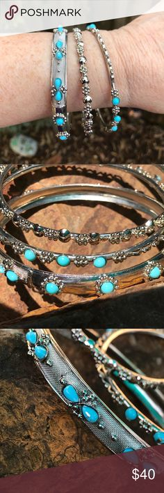 Three Piece Bangle Set Beautiful detail in these three different bangle bracelets.  Beautiful turquoise color and silver metal!   Gorgeous Jewelry Bracelets