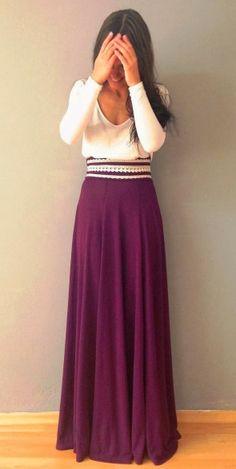 White dress with purple long skirts  Beaaaaautiful