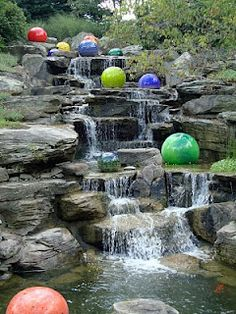 Koi pond at Meijer Gardens, Grand Rapids Mi...glass balls by Chihuly