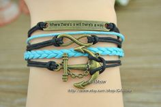 Anchor & Infinity bracelet  Black wax rope  Blue by GiftShow, $3.99 Fashion handmade bracelet, a gift.