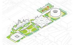 The Smithsonian and BIG - Bjarke Ingels Group revealed a monumental project for a complete refurbishment of Smithsonian's headquarters in Washington, D. Architecture Concept Diagram, Architecture Design, Architecture Diagrams, Map Design, Sketch Design, Section Drawing, Interior Logo, Sketches Tutorial, Landscape Concept