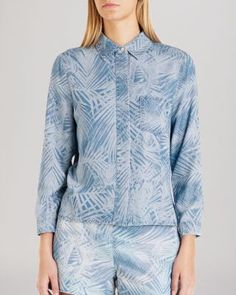 Ted Baker Shirt - Branca Palm Print Denim | Bloomingdale'sed Baker puts a tropical twist on a true-blue classic button-up with a trend-right palm leaf print that hints of fun-in-the-sun destinations--even if you're just hangin' on your home turf. Point collar, long sleeves, button cuffs Concealed front button placket, chest patch pocket, printed Please use the following size conversions when ordering this item: 0=US 2; 1=US 4; 2=US 6; 3=US 8; 4=US 10; 5=US 12 Lyocell Machine washbaby blue