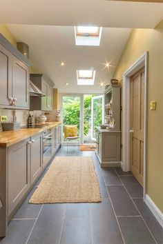 Victorian kitchen extension with French doors and skylight Country Kitchen, Diy Kitchen, Kitchen Decor, Country Bathrooms, Kitchen Ideas, Galley Kitchens, Home Kitchens, Kitchen Flooring, Kitchen Furniture