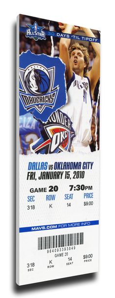 Dirk Nowitski Canvas Mega Ticket - Dallas Mavericks