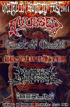 Sábado 6 de Diciembre UNITED IN BRUTALITY TOUR AVULSED + SCENT OF DEATH + VERMIS ANTECESSOR + BLOODHUNTER 20:00 | Entrada Única 10€