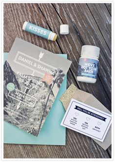 Palm springs wedding invites! S un & quirky (Love the lip balm and aspiring bottle!)