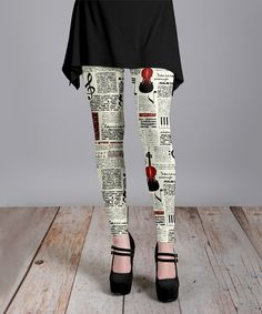Take a look at this Cream & Black Music Notes & Violin Leggings - Plus Too today!