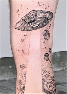 Flying saucer in space tattoo by freeorgy - #tattoos #aliens #Tattooink