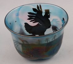 ** Bertil Vallien (Swedish, 1938), Glass Bowl with Sand Blasted Decoration.