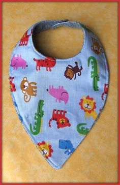 Bavoir bandana en tissu coton motif animaux dela jungle tissu éponge : Mode Bébé par orkan28
