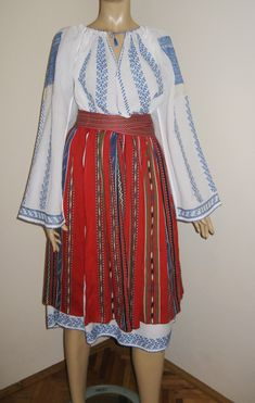 Vintage Romanian traditional costume from Oltenia - size M or M/L - 2 Peasant Skirt, Peasant Blouse, Embroidery Purse, Dark Blue Flowers, Young Frankenstein, Ethnic Outfits, Embroidered Blouse, Suddenly, High Waisted Skirt