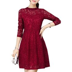 Elegant Winter Lace Dress Plus Size M~5XL Vintage Party Dresses Women Solid Long Sleeve Bodycon Vestidos De Festa Casual Jurken