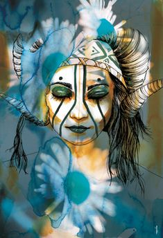 #shaman #woman #blue #aries Shaman Woman, Portraits, Illustrations, Aries, Costumes, Blue, Fictional Characters, Women, Shamanism
