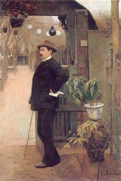 The painter Miguel Utrillo in the gardens of the Moulin de la Galette - Santiago Rusinol