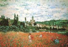Poppies near Vetheuil   - Claude Monet