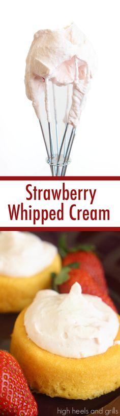 Strawberry Whipped Cream. dessert valentinesday http://www.highheelsandgrills.com/2015/01/strawberry-whipped-cream.html
