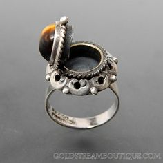 C. 1950's TAXCO MEXICO SBA STERLING SILVER TIGER EYE ORNATE DOMED ADJUSTABLE POISON RING