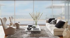 Silhouette Window Shadings feature soft adjustable fabric vanes that appear to be floating between two sheer fabric panels that beautifully diffuse harsh sunlight. Simply tilt the vanes to achieve your desired level of light and privacy. Diy Shutters, Sheer Shades, Shades Blinds, House Windows, Blinds For Windows, Window Coverings, Window Treatments, Honeycomb Shades