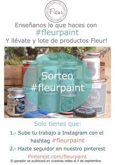 Sorteo de un lote #fleurpaint. SOlo tienes que subir tu trabajo hecho con #fleurpaint a instagram con el hasntag #fleurpaint y seguirnos en Pinterest. Sorteo válido durante el mes de agosto de 2015 Soap, Personal Care, Bottle, Diy, Instagram, Pageants, Month Of August, Prize Draw, So Done