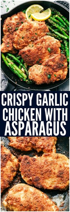 Crispy Garlic Chicken with Asparagus is an easy 30 minute meal with crispy breaded chicken and crisp and tender asparagus. This is a family favorite meal!
