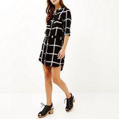 Black check shirt dress - day / t-shirt dresses - dresses - women