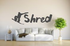 Snowboarding Vinyl wall Decal. Has snowboarder and the word Shred. Perfect for the home, or on a vehicle. Snowboarding wall art, i love snow by JadeDecals on Etsy https://www.etsy.com/listing/476182643/snowboarding-vinyl-wall-decal-has