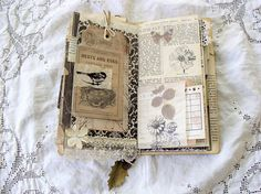 Vintage inspired travelers notebook/junk journal with a nature theme... Book covers are made from mat-board making the cover very sturdy. Outside is covered with pretty paper from a paper stack that I adore and have been hording for a long time!:) Inside covers covered with vintage garden book pages. On the front cover Iv added a rusty book plate that is open on the top making it easy to personalize if you wish. Notebook Is held closed with twine and button closure that can be taken off...