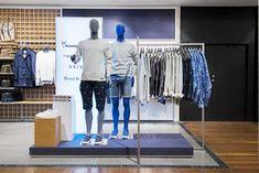 Men's The Lab department store by Magasin du Nord, Copenhagen – Denmark Visual Merchandising, Clothing Store Displays, Boutique Interior, Visual Display, Retail Interior, Design Furniture, Retail Shop, Window Design, Branding