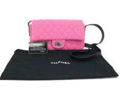 Authentic pre-owned by #eLADY global from Japan.  #Chanel 2.55 Matrasse Chain Shoulder Bag Tweed Pink(BF061209)