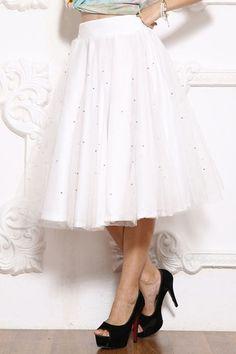 Solid Color Bead Embellished Voile Skirt