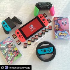 Nintendo Switch What is your favorite Nintendo console? -Definitely the Nintendo Switch! It is such a stunning console with incredible games that you can bring everywhere! I am super excited for everything Nintendo announced at Nintendo 3ds, Nintendo Game Consoles, Nintendo Switch Game Console, Nintendo Switch Games, Gaming Room Setup, Computer Setup, Xbox, Playstation, Console
