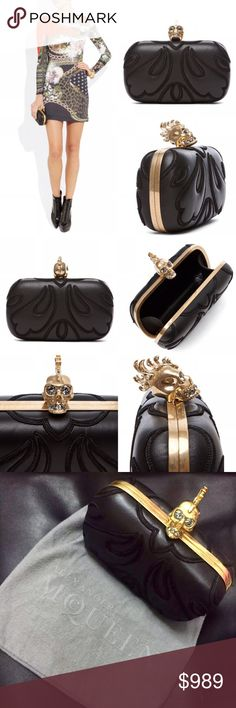 """Alexander McQueen Punk Baroc Skull box clutch AUTHENTIC Alexander McQueen Punk Baroc Skull box clutch.  Worn a few times, in excellent condition!  No stains, rips, or scratches. Comes with dust bag.  Exquisitely crafted with leather appliqués and a dazzling Swarovski crystal-embellished skull clasp.  * Genuine nappa leather and gold-tone brass frame with leather lining * Measures approx 6""""W x 4""""H x 2""""D * Skull clasp closure with Swarovski crystals * Embroidery stitching detail throughout…"""