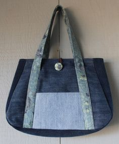 Denim Handbag with Front Pocket and Fabric Button and Lined with Soft Cotton Green and Blue Floral Printed Fabric by AllintheJeans on Etsy