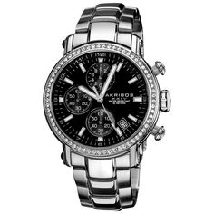 Akribos XXIV Men's Stainless Steel Crystal Chronograph Watch | Overstock.com