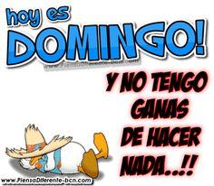HOY ES DOMINGO! Y no tengo ganas de hacer nada..!!
